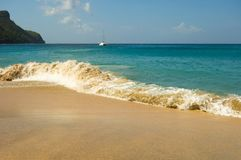 A ground sea at a pristine bay in the caribbean Royalty Free Stock Image