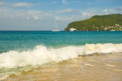 A ground sea at a pristine bay in the caribbean Stock Images