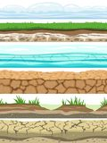 Ground seamless levels. Desert grounded land soil ice grass texture water stone surfaces. Game ui vector stock illustration