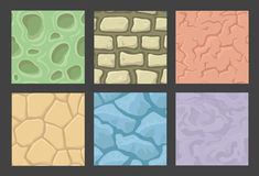 Ground seamless patterns set, vector stone Stock Photography