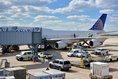Ground service, Chicago airport. Chicago International Airport, shown as working and operations in airport, and industrial of transportation, or equipment of air Royalty Free Stock Photo