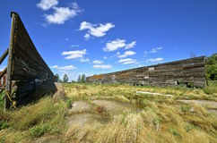Ground silage walls of an empty feedlot Royalty Free Stock Photography