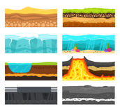 Ground slices vector set. stock illustration