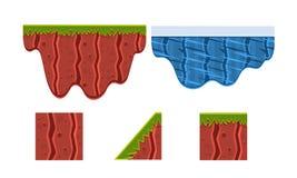 Ground, soil, ice, grass, surface, gaming environment, landscape elements, platforms for mobile games, assets for GUI or. Web design vector Illustration stock illustration
