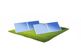 Ground with solar panels Stock Photo