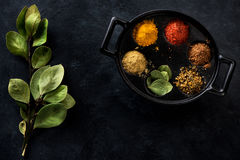 Ground Spices and herbs. Dabba masala box Royalty Free Stock Photography