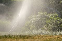 Ground sprinkler with impulse and water in the backlight. Of a meadow royalty free stock photo