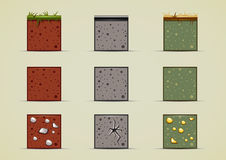 Ground sprites collection. Set of nine isolated ground sprites Stock Images