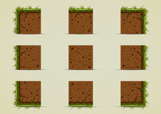 Ground sprites with grass for creating video game. Ground tile set with grass for creating video game Royalty Free Stock Photo