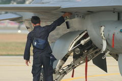Ground staff can check the jet fighter Royalty Free Stock Photo