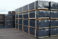 Ground storage. Prepacked board production in storage yard ready for shipping Royalty Free Stock Photo