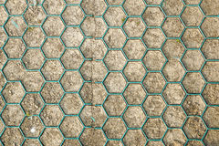 Ground for Street Road. Sidewalk, Driveway, Pavers, Pavement in Vintage Design Flooring Hexagon Pattern Texture Stock Images
