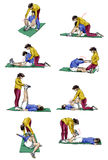 Ground stretching for couples. Set of illustrations of a couple doing stretching exercises Stock Image