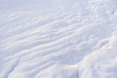 Ground surface covered with fluffy freshly fallen white snow. stock image