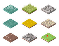 Ground surfaces. Grass, rocks and water Stock Photos