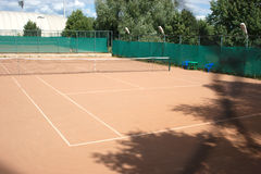 Ground tennis court in summer Royalty Free Stock Photo