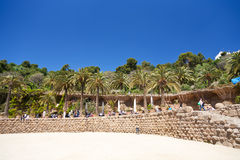 Ground terrace in Park Guell, Barcelona Royalty Free Stock Photos