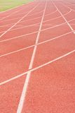 Ground track athletics. Yard line, running track, athletics track, a red, white ground Royalty Free Stock Image
