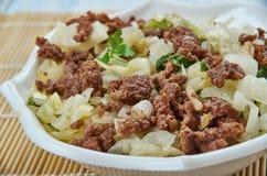 Ground Turkey and Cabbage Stir-Fry. Close up stock photo
