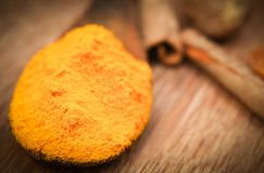 Ground turmeric and coriander Royalty Free Stock Image