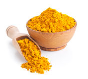 Ground turmeric isolated on white Stock Photo