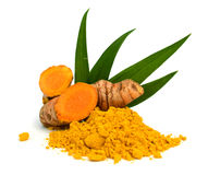 Ground turmeric and rhizomes. Turmeric powder and turmeric isolated on white background Stock Photography