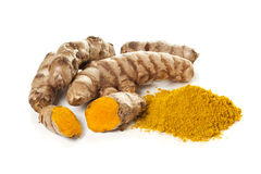 Ground turmeric and rhizomes Stock Photography