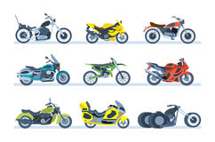 Ground vehicles. Different types of motorcycles: sports, tourist, classic, off-road. Ground vehicles. Transport modern motorbike with power engine. Different royalty free illustration