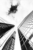 Ground View of Glass Buildings in Grayscale Photography Stock Images