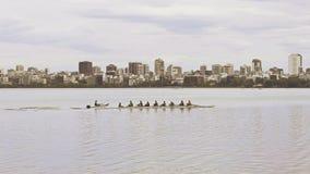 Ground view of Lago de Rodrigo Freitas Lagoon with Rowing team. Rio de Janeiro, Brazil stock video