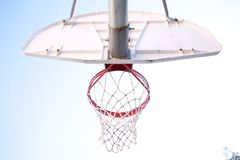 Ground View of Red and White Basketball Hoop Stock Photos