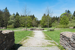 Ground walls of the former Roman fort Feldberg in the Taunus, Germany Stock Images