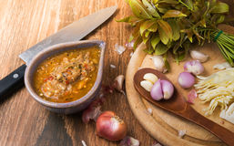 Ground water bug spicy dip. On wood background royalty free stock photo