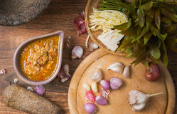 Ground water bug spicy dip. On wood background stock image