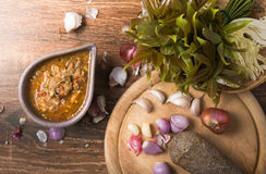 Ground water bug spicy dip. On wood background stock images