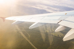 Ground through the window airplane Stock Images