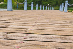 Ground wooden way on a lake side. In Kunming Stock Photography