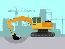 Ground Works on Construction Flat Vector Concept Stock Images