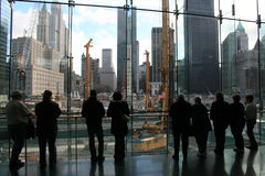 Ground Zero. People looking at Ground Zero in Lower Manhattan stock photos