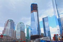 Ground Zero being rebuilt. Freedom tower rising from Ground Zeroas it's being rebuilt, Manhattan, New York City Stock Images