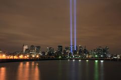 Ground zero light beams Stock Photo