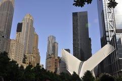 9/11 Ground Zero Memorial Park Skyscrapers from Manhattan in New York City USA stock photography