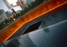 Ground Zero. New York City, USA - June 24, 2014: 9/11 Memorial at Ground Zero, Lower Manhattan, commemorating the terrorist attack of September 11, 2001 Stock Photo