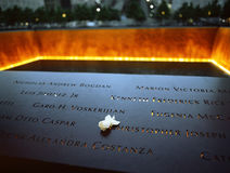 Ground Zero. New York City, USA - June 24, 2014: 9/11 Memorial at Ground Zero, Lower Manhattan, commemorating the terrorist attack of September 11, 2001 Royalty Free Stock Photography