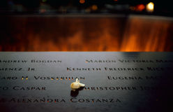 Ground Zero. New York City, USA - June 24, 2014: 9/11 Memorial at Ground Zero, Lower Manhattan, commemorating the terrorist attack of September 11, 2001 Stock Image
