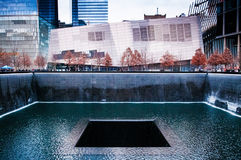 Ground zerominnesmärke eller September 11 minnes- pöl, Manhattan, N Fotografering för Bildbyråer