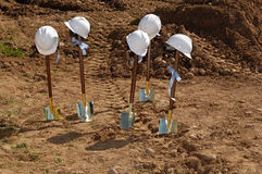Groundbreaking. Shovels and hardhats at a groundbreaking Royalty Free Stock Photos