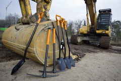 Groundbreaking Ceremony. Worker tools stand before starting groundbreaking ceremony Stock Photos