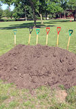 Groundbreaking Event. Shovels are ready for groundbreaking event Royalty Free Stock Photography