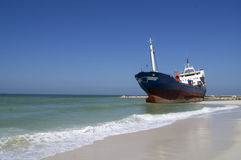 Grounded Cargo Ship Royalty Free Stock Image